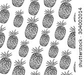 pattern with black pineapples... | Shutterstock .eps vector #304002014