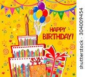 birthday card. celebration... | Shutterstock .eps vector #304009454