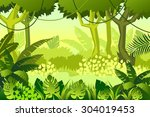 wild wood. jungle. vector... | Shutterstock .eps vector #304019453