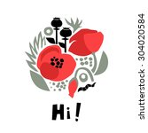 poppies floral vector... | Shutterstock .eps vector #304020584