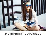 funny stylish sexy smiling... | Shutterstock . vector #304030130