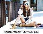 funny stylish sexy smiling... | Shutterstock . vector #304030133