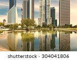 park and skyscrapers under the... | Shutterstock . vector #304041806