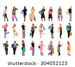 crowd of shoppers spending is... | Shutterstock . vector #304052123
