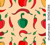 seamless pattern with pepper | Shutterstock . vector #304062086
