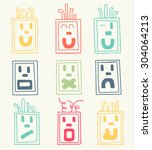 vector set of hand drawn faces  ... | Shutterstock .eps vector #304064213
