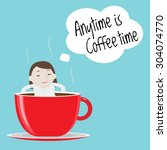 businesswoman thinking anytime... | Shutterstock .eps vector #304074770