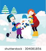 a picture of a family making a... | Shutterstock .eps vector #304081856