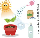 vital needs of a plant. plants... | Shutterstock .eps vector #304083749