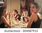 classy girl at an elegant dinner | Shutterstock . vector #304087913