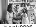 black and white. bw. family...   Shutterstock . vector #304088489