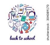 set of vector school supplies.... | Shutterstock .eps vector #304089170