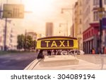 taxi sign on top of a german... | Shutterstock . vector #304089194