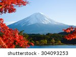 mt.fuji in autumn at lake... | Shutterstock . vector #304093253