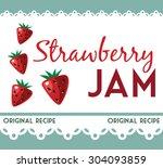 vintage strawberry jam card | Shutterstock .eps vector #304093859