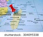 pushpin marking on madagascar... | Shutterstock . vector #304095338