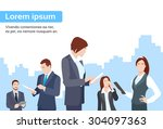 business people group using... | Shutterstock .eps vector #304097363