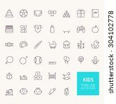 kids outline icons for web and...
