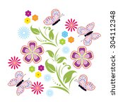 vector flowers and butterfly... | Shutterstock .eps vector #304112348