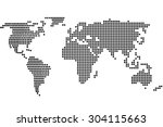 simple digital world map of dots | Shutterstock . vector #304115663