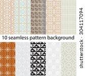 10 vector seamless patterns... | Shutterstock .eps vector #304117094