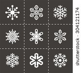 vector snowflake icon set on... | Shutterstock .eps vector #304121174