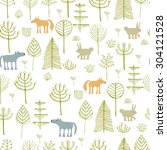 forest seamless pattern. hand... | Shutterstock .eps vector #304121528