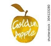 golden apple illustration  hand ... | Shutterstock .eps vector #304123280
