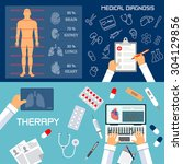 medical diagnosis and therapy... | Shutterstock .eps vector #304129856