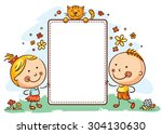 kids with a frame with copy... | Shutterstock .eps vector #304130630