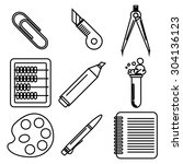 set of black ink icons with... | Shutterstock .eps vector #304136123