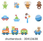 pretty set of baby toys. | Shutterstock .eps vector #30413638