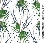 acai berries and branches... | Shutterstock .eps vector #304142144