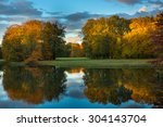 late autumn evening in the park ... | Shutterstock . vector #304143704