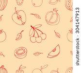 fruit doodles seamless  | Shutterstock . vector #304147913