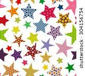 bright multicolored stars... | Shutterstock .eps vector #304156754