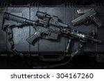 assult rifle ar15 and pistol gun | Shutterstock . vector #304167260