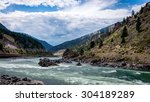 The Fraser River as it flows west towards the Pacific Ocean through the Fraser Canyon in Southern British Columbia, Canada