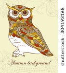 autumn background with owl   Shutterstock .eps vector #304193168