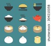 vector chinese cuisine  dim sum ... | Shutterstock .eps vector #304210358