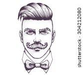 hand drawn portrait of...   Shutterstock .eps vector #304212080