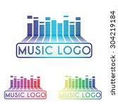 wave music logo | Shutterstock .eps vector #304219184
