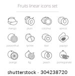 fruits linear icons set.... | Shutterstock .eps vector #304238720