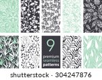 vector 9 branches set seamless... | Shutterstock .eps vector #304247876
