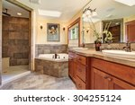 lovely master bathroom with... | Shutterstock . vector #304255124