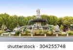 fountain at la rotonde in aix...   Shutterstock . vector #304255748