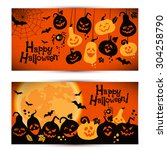 halloween background of... | Shutterstock .eps vector #304258790