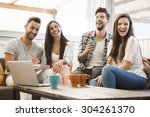 group of friends meeting in the ... | Shutterstock . vector #304261370