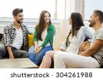friends meeting at the local... | Shutterstock . vector #304261988