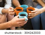 group of friends making a toast ... | Shutterstock . vector #304262033